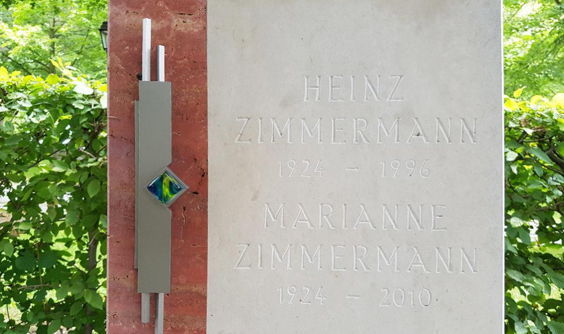 Grabmal Urnengrab Travertin Kalkstein Grabinschrift Edelstahl Steinmetz Idee