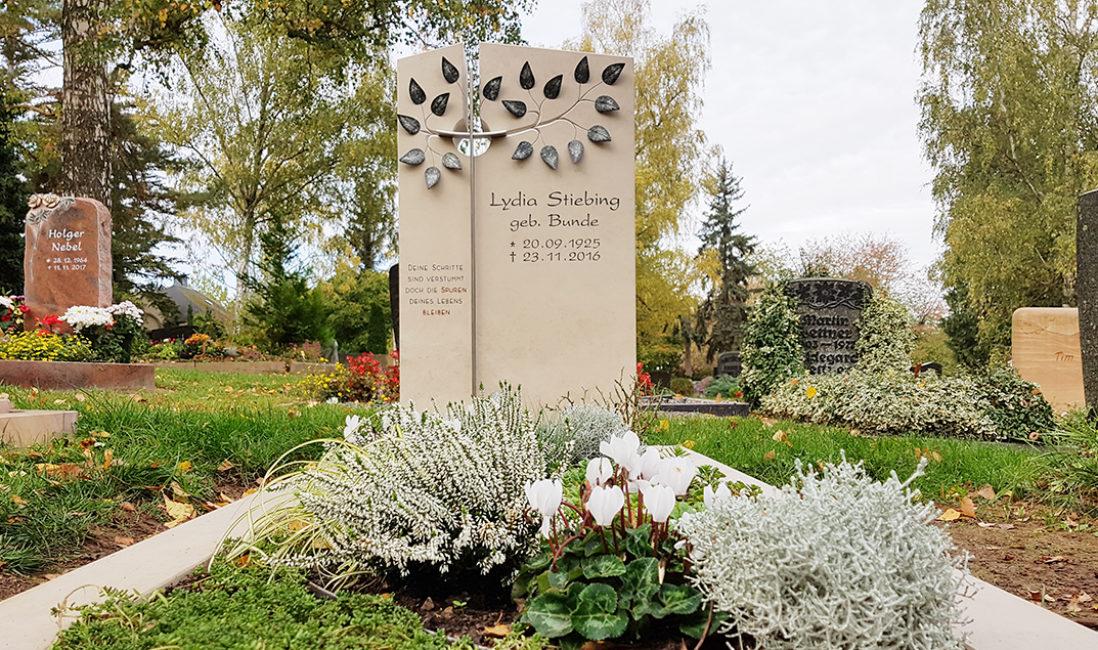 Einzelgrabstein Grabanlage Einfassung Kalkstein Kreuz Öffnung Grabbepflanzung Herbst Bodendecker Kreuz Baum Blätter