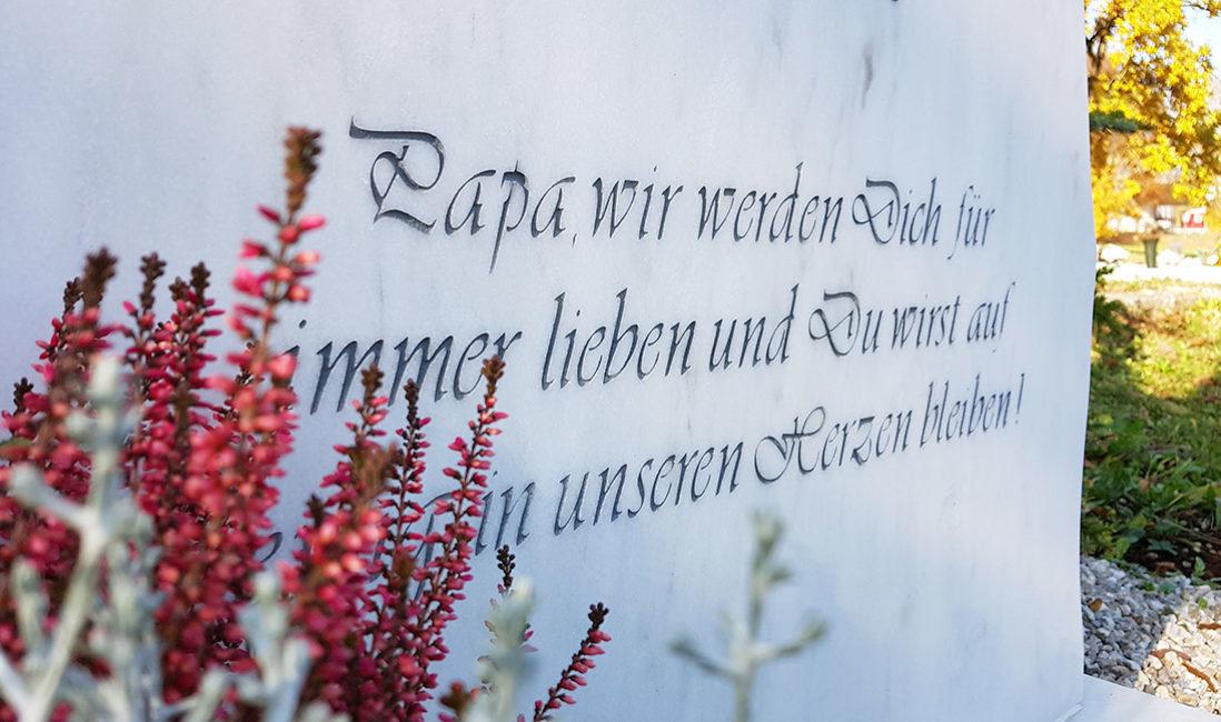 Einzelgrabmal Grabinschrift Zitat Marmor Steinmetz Pfaffenhofen