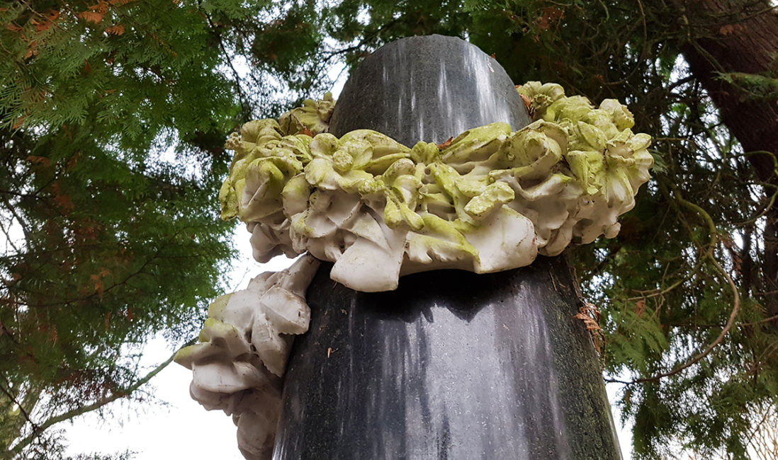 Familiengrabanlage historisch Granit Marmor Rosen Ranke Blumen Bildhauer Friedhofsverwaltung Wiesbaden