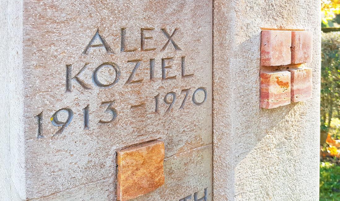 Grabmal Urnengrabstätte Gestaltung Idee Beispiel Kalkstein Travertin Inschrift modern Steinmetz Pfaffenhofen München