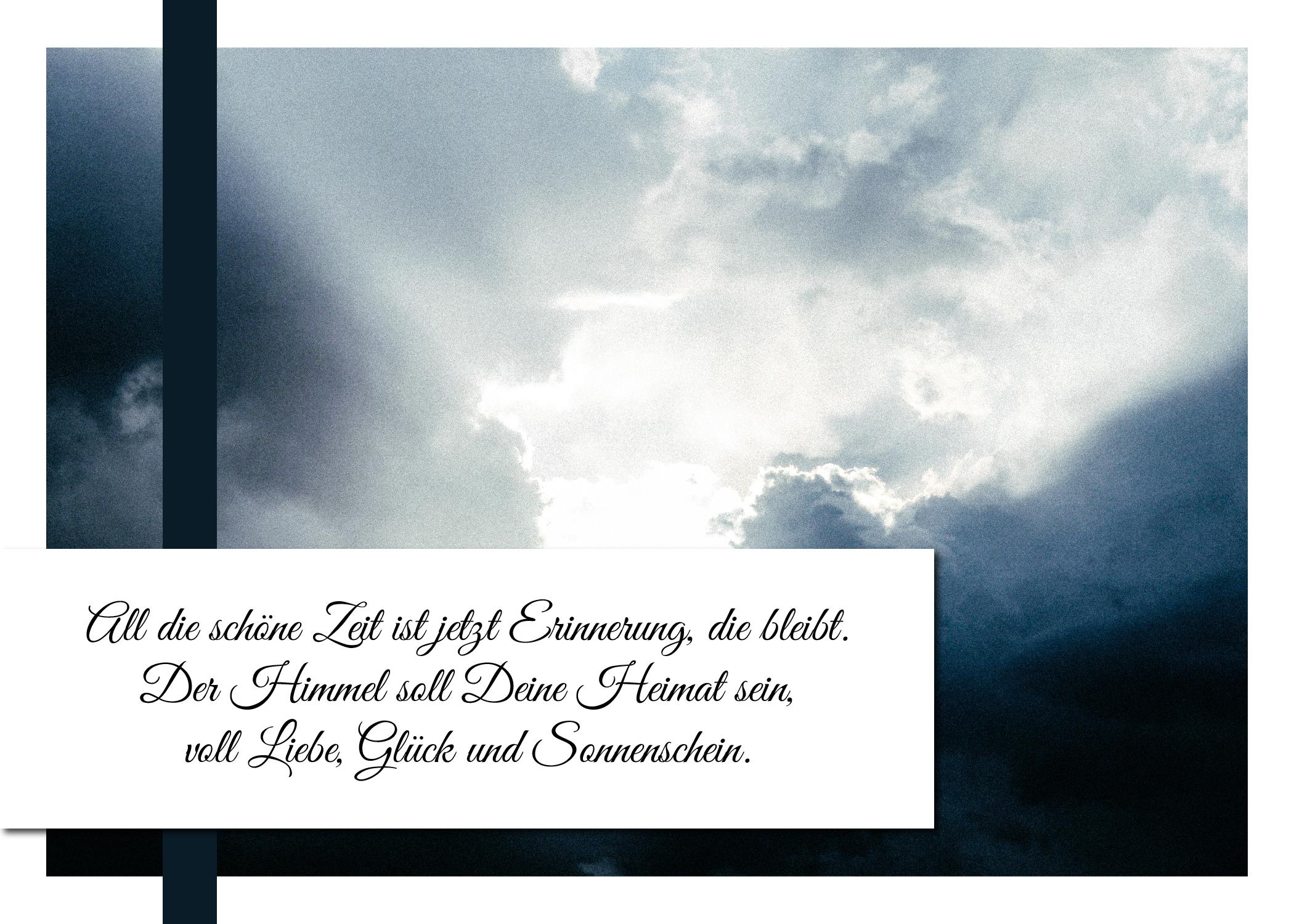 Trauerkarte oder Kondolenzkarte mit einem Kondolenzspruch