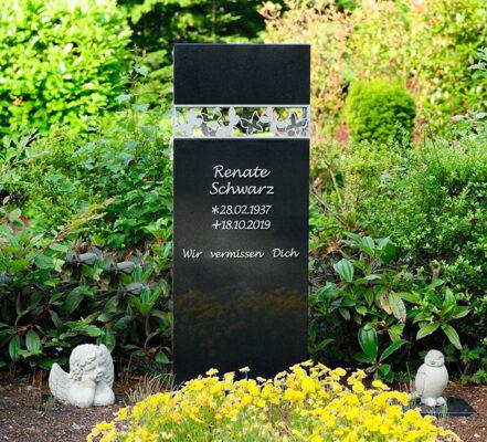 Ratingen Friedhof Hösel Einzelgrab aus Granit mit Edelstahlelement Familie Schwarz
